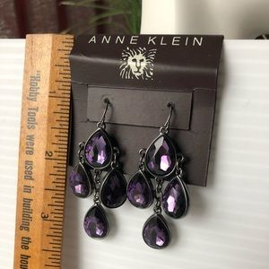 Anne Klein Earrings Purple Rhinestone Earrings